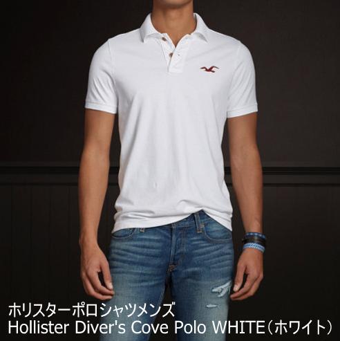 【即納】ホリスターポロシャツメンズ Hollister Diver's Cove Polo WHITE(ホワイト)正規品(本物)